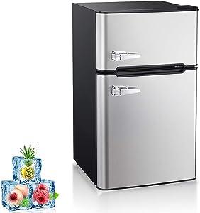 Kismile Double Door 3.2 Cu.ft Compact Refrigerator with Top Door Freezer,Freestanding mini Fridge with Adjustable Temperature,Upright Freezer for Apartment,Home,Office,Dorm or RV (Silver, 3.2 Cu.ft)