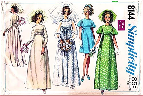 Simplicity 8144 Misses Wedding Dress or Bridesmaid Dress in Two Lengths Vintage 60's Sewing Pattern Check Listings for Size