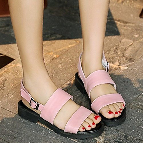 COOLCEPT Mujer Moda Sin Cordones Sandalias Punta Abierta Singback Planos Zapatos Rosado