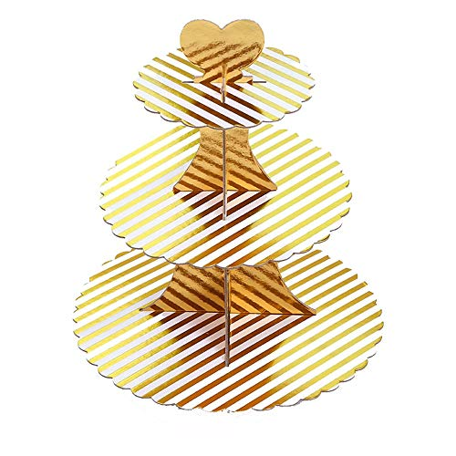 Food Display Cupcake Stand Gold Cardboard Cupcake Dessert 3-Tier Display Stand 2 Set for Birthday Wedding Festival Decoration (Color : Gold 4, Size : 32.530.5CM)