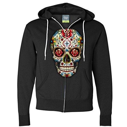 Dia De Los Muertos Sugar Skull Zip-Up Hoodie - Black Small