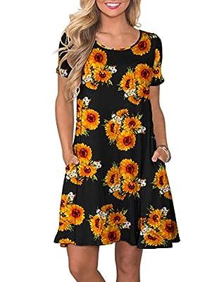 WNEEDU Women's Summer Casual T Shirt Dresses Short Sleeve Swing Dress with Pockets