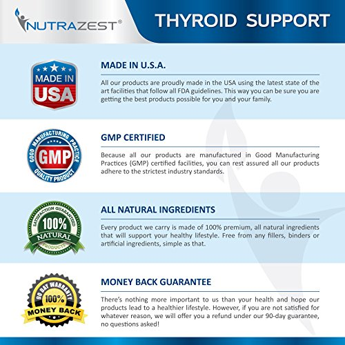 Thyroid Support Supplement - #1 Premium Formula to Boost Metabolism, Support Weight Loss, Increase Energy & Focus - with Iodine (Kelp), Zinc, L-Tyrosine, Ashwagandha, Vitamin B12-60 Capsules by Nutrazest (Image #5)