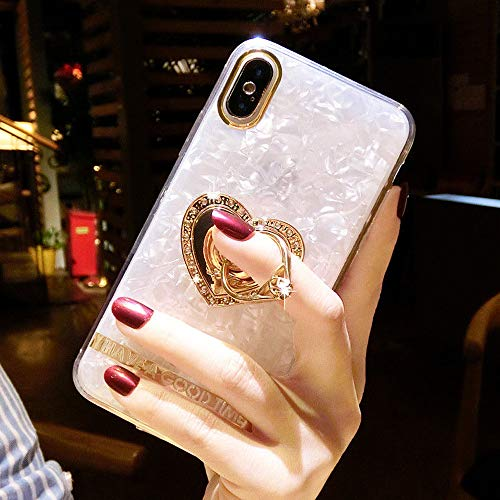 - ZCDAYE iPhone 7 iPhone 8 Case,Bling Glitter Soft TPU Silicone Love Ring Holder Kickstand 360 Degree Rotating Anti-Slip Shockproof Protective Shell Case Cover for iPhone 7/iPhone 8 - White