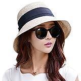 SYBKNSTW Women Straw Summer Sun Floppy Hat Wide Brim Bucket Linen Cotton Hat UPF50+ Uv Cap Chin Strap