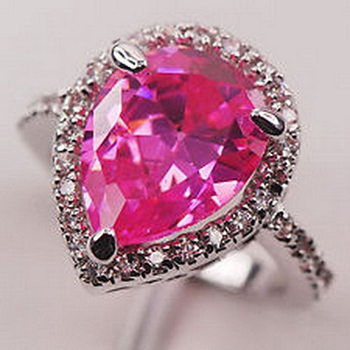 (YD Jewels - Pink Kunzite White Topaz Silver Gemstone Jewelry Ring Size 7)