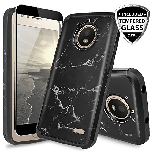 TJS Motorola Moto E4 Case, [Full Coverage Tempered Glass Screen Protector] Dual Layer Hybrid Shockproof Drop Protection Impact Rugged Marble Case Armor Cover Compatible Motorola Moto E4 (Black)