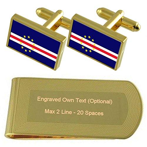 Verde Money Cufflinks Set Clip Flag Engraved tone Gift Gold Cape dwqRpIXd