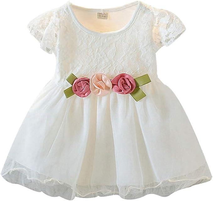 Alwayswin Baby Kinder M/ädchen Blumenkleid Prinzessin Kleider Freizeitkleidung Mode Leinenkleid Kurzarm Gef/älschter Zweiteiliger Strandrock mit R/üschen Party T/ägliches Kleid