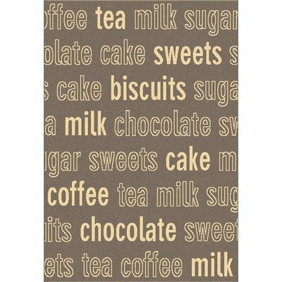 Dynamic Rugs Trend Café Words Rug, 7.10 by 10.10-Feet, Brown