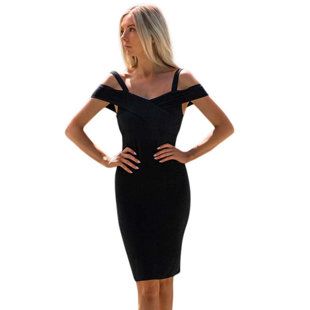 BAOHOKE Ladies Sexy Solid Color Halter Bodycon Off-Shoulder Prom Casual Sling Dress(Black ,L