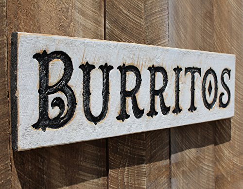 Burritos Sign 40  X 10    Carved In A Cypress Board Rustic Distressed Farmhouse Style Wooden Wood Gift Minimalist Taco Stand Mexican Food Restaurant