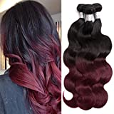 XUANMEI- Hair Extensions, Body Wave Weaving With Double Strong Weft #1b/99j Color, Mixed Bundles 100% Unprocessed Virgin Brazilian Human hair, Soft, Shiny and Fashion (16 18 20 inch) Review