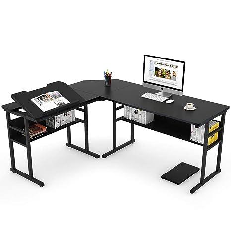 Amazon.com: Tribesigns Modern L-Shaped Desk with Bookshelf ...