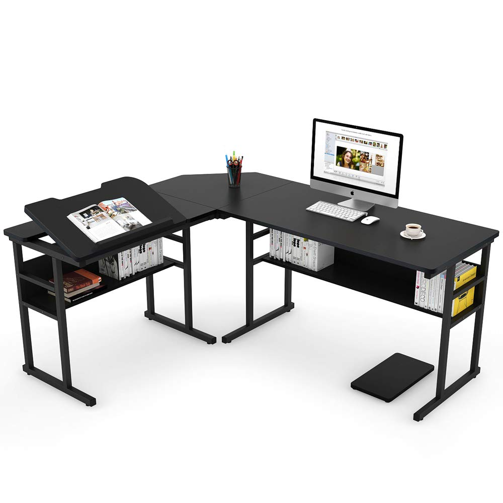 Tribesigns Modern L-Shaped Desk with Bookshelf, 67'' Double Corner Computer Office Desk Workstation Drafting Drawing Table with Tiltable Tabletop for Home Office (Black)