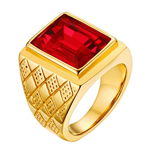 ALEXTINA Men's Stainless Steel Gold Plated Red Agate Stone Ring Emerald Cut Size - Class Ring Emerald