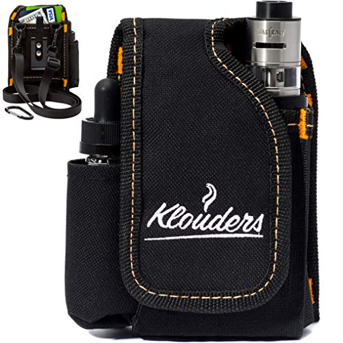 Vape Case Accessories Vapor Pouch for Travel Carrying Bag Holder to Carry Your Vape Box Mods Full Kit with Tank Vaping Supplies Holster Organizer for e Juice Battery Black Klouders [CASE ONLY] (Best E Cig Vv Battery)