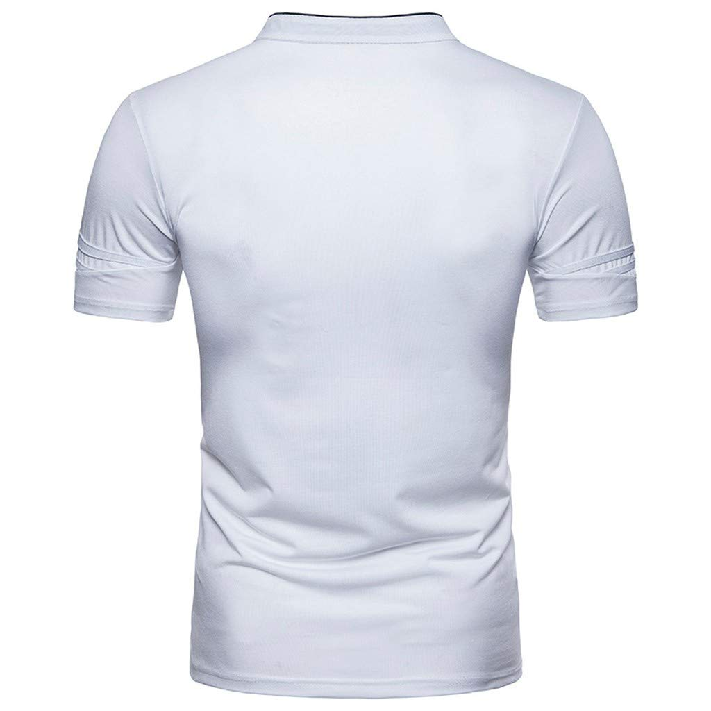 Mens Personality Short Sleeve Shirt Classic Blouse Top Tee Button Lucoo Polo Shirt