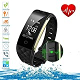 Smart Wristband Waterproof Fitness Tracker Bluetooth with Heart Rate Monitor Sleep Monitor Pedometer Calorie Counter for Android and IOS (S2)