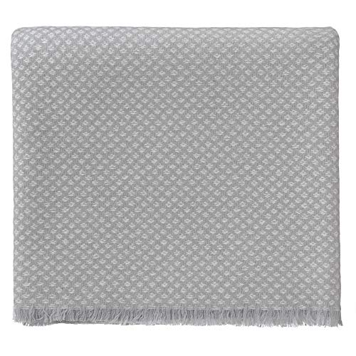 URBANARA 100% Pure Mongolian Cashmere Throw Uyuni 55x79 Light Grey/Cream with Fringe - Extra Soft Wool Blanket, Interwoven in Diamond Pattern - Light, Naturally Breathable and Warm - A Luxury Gift