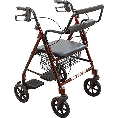 Roscoe Medical Transport Rollator with Padded Seat, Burgundy
