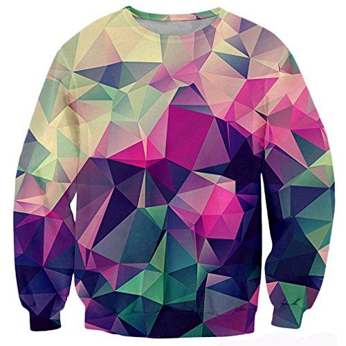 RAISEVERN Unisex Geometric Pattern Print Graphic Graffiti Pullover Sweatshirt Geometric Small