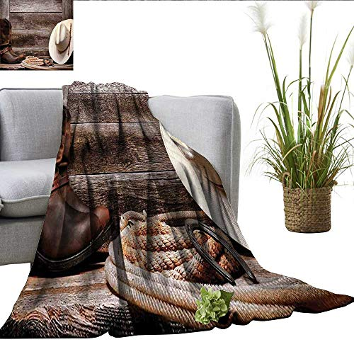 smllmoonDecor Western Decor Summer Blanket American West Rodeo White Straw Cowboy Hat with Lariat Leather Boots on Rustic Barn Wood Electric Blanket Queen W50 xL70