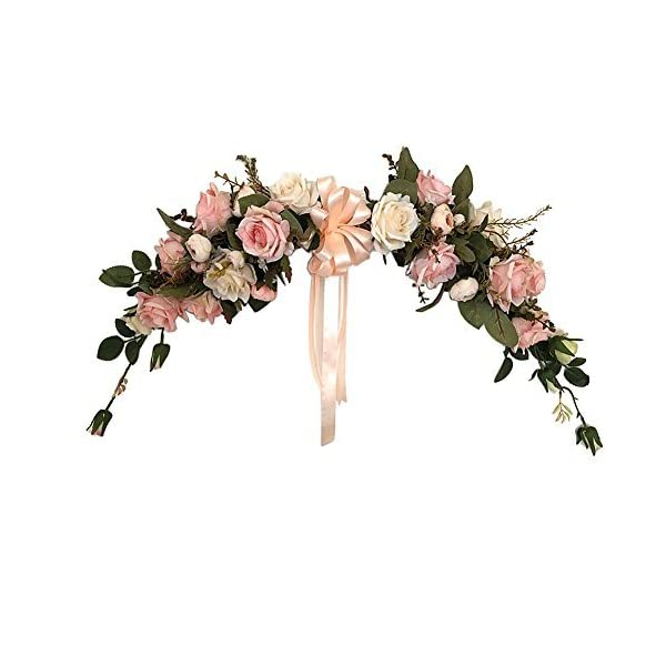 Adeeing Artificial Flower Swag 22-Inch Rose Peony Swag Arch Wreath Centerpiece for Wedding Home Room Garden Lintel Decoration,Pink Peonies