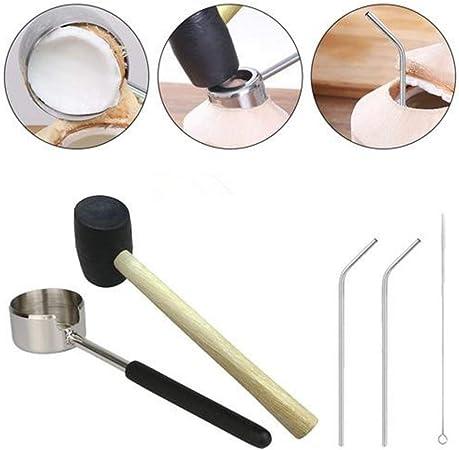 Leggero Coconut Opener Tool Set In Acciaio Inox Apriscatole Con Mazzuolo Di Legno