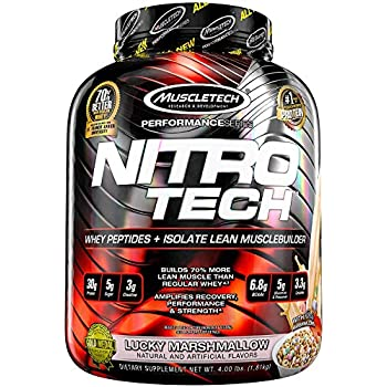 MuscleTech NitroTech Protein Powder Plus Muscle Builder, 100% Whey Protein with Whey Isolate, Lucky Marshmallow, 40 Servings (4lbs)