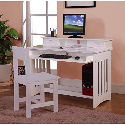 American Furniture Classics Model 0267DH, Solid Pine Desk and Hutch in White
