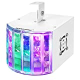 WOWTOU DJ Lights Projector by DMX / Manual Control with Sound Activated Strobe Effect and Colored LED Stage Light Show for Disco Party Dance Floor Night Club Lighting (White)