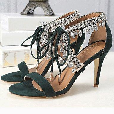 pwne Club De Mujeres Sandalias Zapatos De Tela Pu Verano Boda Vestido De Noche &Amp; Talón Rhinestonestiletto Almendra Verde Oscuro Plata Negro US6 / EU36 / UK4 / CN36