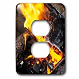 3dRose Alexis Photography - Texture Fire - Orange, yellow fire of a burning charcoal of an open air smithy - Light Switch Covers - 2 plug outlet cover (lsp_286617_6)