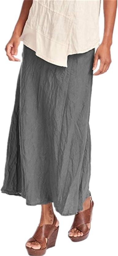 Yying Falda Mujer Retro Largas Suave Cómodo Verano Cintura Elástica Falda de Lino Algodón Faldas Cintura Alta Elegante Maxi Falda para Playa S-3XL: Amazon.es: Ropa y accesorios
