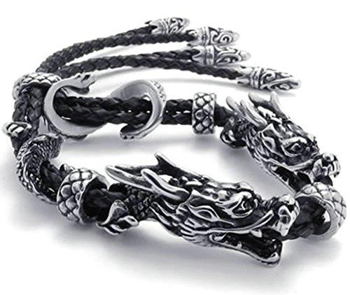 Beydodo Mens Stainless Steel Black Leather Bracelet Double Dragon Link, Black Silver, 231.4CM