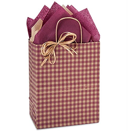 Burgundy Gingham Paper Shopping Bags - Cub Size - 8 x 4 3/4 x 10 1/4in. - 250 Pack by NW