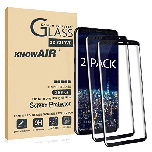 KNOWAIR Galaxy S8 Plus Screen Protector,Full Coverage Tempered Glass[2 Pack][3D Curved] [Anti-Scratch][High Definition] Tempered Glass Screen Protector Suitable for Samsung Galaxy S8 Plus (NOT S8)