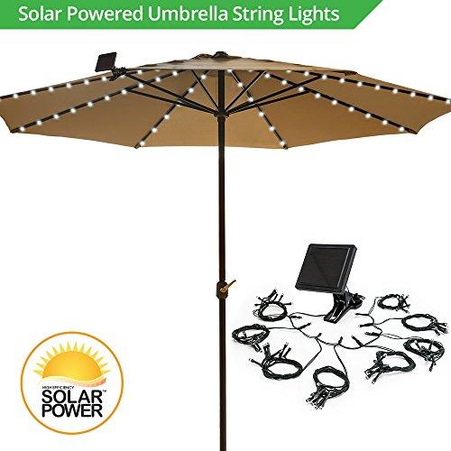 (Umbrella Solar String Lights - Cool White - 72 total LEDs, 8 strings, 9 LEDs per string)