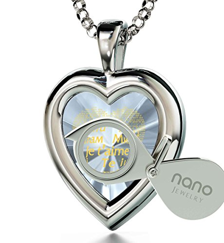 925 Sterling Silver Heart Pendant I Love You Necklace 120 Languages 24k Gold Inscribed Clear CZ, 18'' by Nano Jewelry