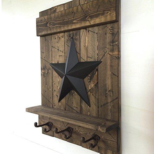 Handmade Wall Mount Coat Rack Distressed Wood Shelf Metal Barn Star Cast Iron Wall Hooks Dark - Lodge Apple Iron Cast
