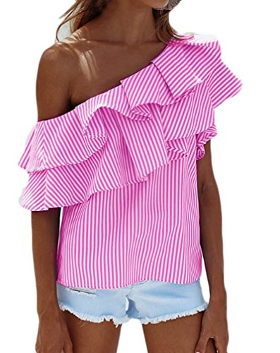 Camisas Mujer Verano Rayas Sin Mangas Hombros Descubiertos Volantes Elegantes Vintage Asimetricas Irregular Jovenes Moda Outdoor Casual Camisa Blusa Blusas ...