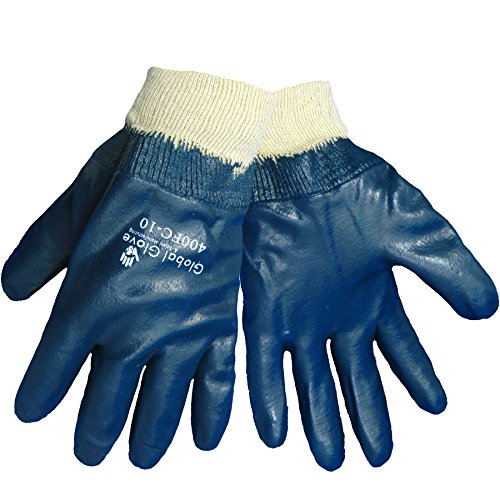 Interlock Liner (Global Glove 400FC Full Coated Nitrile Dipped 2 Piece Interlock Liner Glove with Knitwrist Cuff, Work, Large, Light Blue (Case of 72))