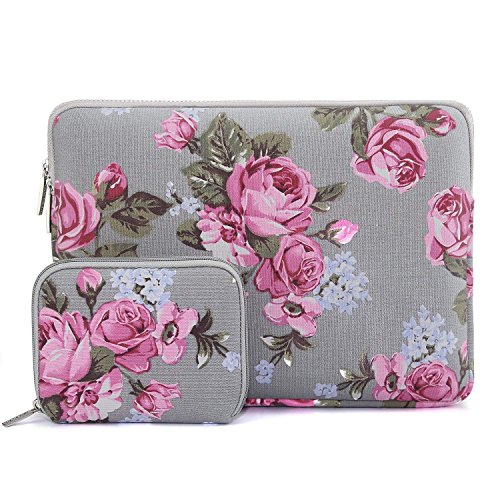 MOSISO Laptop Sleeve Compatible 13 Inch New MacBook Pro Touch Bar A1989 & A1706 & A1708 2018 2017 2016, Surface Pro 2017, Dell XPS 13, Peony Pattern Canvas Tablet Bag Cover with Small Case, Gray ()