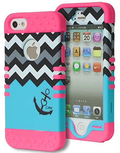 iPhone 5 Case, Bastex Heavy Duty Hybrid Case - Soft Hot Pink Silicone Cover Hard White & Grey & Black Chevron Top Sky Blue Love Anchor Bottom Design Case for iPhone 5, 5S, 5th Generation