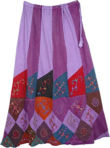 TLB - Boho Embroidered Purple Patchwork Skirt - L:36