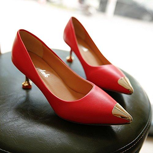 Xue Qiqi Metallspitze des high-heel Schuhe flache Öffnung dünn dünn dünn mit dem einzigen Schuhe mit elegant und vielseitig Damenschuhe Arbeitsschuhe 71c064