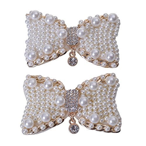 Douqu 2Pcs Fashion White Pearl Bowknot Rhinestone Metal Shoe Buckle Bridal Wedding Party Dating Dress up Wild Removable Shoe Clips