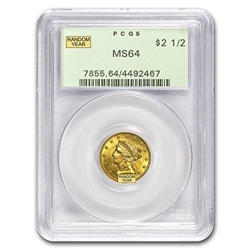 1840 – 1907 $2.50 Liberty Gold Quarter Eagle MS-64 NGC/PCGS $2.50 MS-64 PCGS