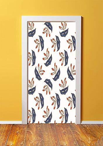 Masquerade 3D Door Sticker Wall Decals Mural Wallpaper,Party Mask Mid Century Disguise Night Costume Event Illustration Print,DIY Art Home Decor Poster Decoration 30.3x78.7587,Cream and Bluegrey